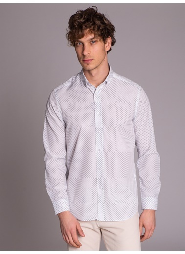Dufy Baskili Pamuklu Polyester Erkek Gömlek - Slim Fit Beyaz